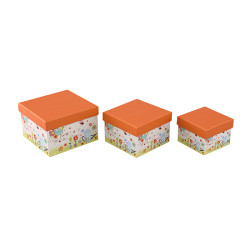 Custom floral pattern landscape square paper gift boxes with 3 pcs per set in Tongle Packing