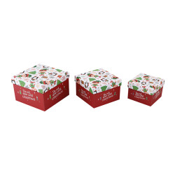 Custom Christmas gift pack square paper gift boxes with 3 pcs per set in Tongle Packing