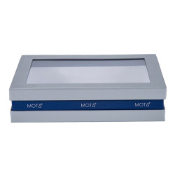 Custom Design Flip Flap Sliver Grey Board Paper Box with Clear PVC Window in TONGLE PACKING