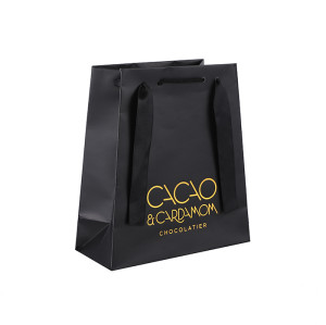 Lux Chocolate Paper Packagaing Bags Hot Golden Stamping Brand Logo On 2 Sides Made in Tongle Packing
