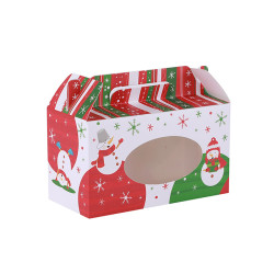 Merry Christmas DIY Folding White Card Paper Treat Box With PVC Window In Tongle Packing