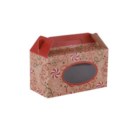 300gsm Brown Kraft Paper made DIY folding boxes with 4c Printing and White Ink Printing With PVC Window