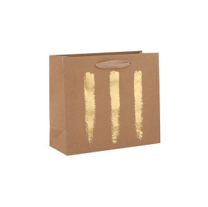Natural Color Simple Design Brown Kraft Paper Bags Premium Quality Gift Bags With Hot Foil Stamping In TONGLE PACKING