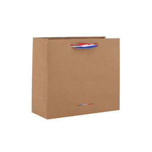 Natural Color Horizental Kraft Paper Bags Printed French Flag 3 Colors Euro Tote Bags In TONGLE PACKING