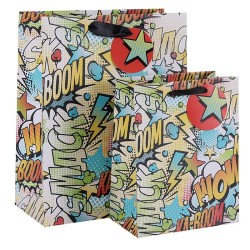 KA-BOOM SMACK WOW Paper Carrier Bags Fancy Gift Bags With Round Hangtag In TONGLE PACKING