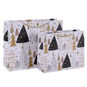 Simply Elegant Merry Christmas Tree Paper Gift Bags Art Paper Bags Season's Greeting Paper Carrier Bags Nice Gift Packaging Bags In TONGLE PACKING