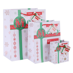 Classic American Trends Merry Christmas White Paper Bags Art Paper Bags Season's Greeting Paper Carrier Bags Nice Gift Packaging Bags with hangtag In TONGLE PACKING