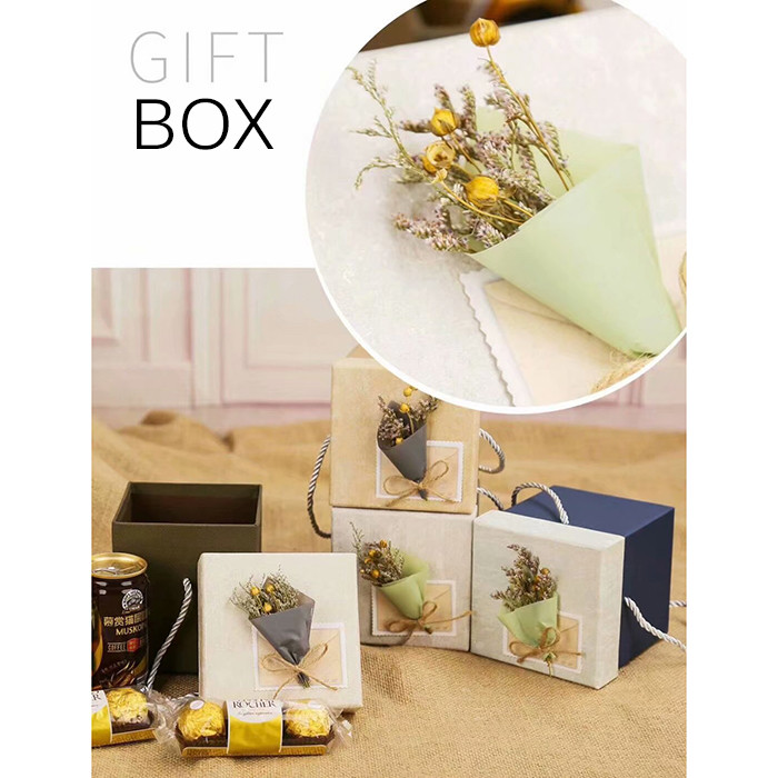 paper gift box with draw string handles