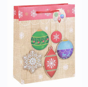 High Quality Best Sale Xmas Festival Gift Bag Merry Christmas Paper Bag With 3D And Glitter  In Tongle Packing