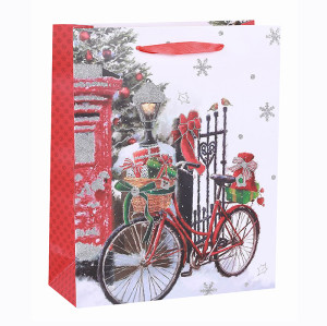 Best Sale Nice Printing Decorative Gift Packing paper Xmas Festival Gift Paper Merry Christmas Bag With Glitter  In Tongle Packing