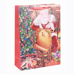 High Quality Best Sale Santa Claus Xmas Festival Gift Bag Merry Christmas Paper Bag With 3D  In Tongle Packing