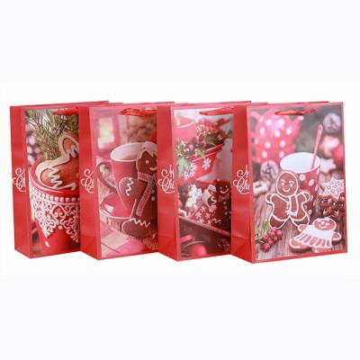 Frohe Weihnachten-Papiertüte Bester Verkaufs-Foto-Druck Frohe Feiertage Papiergeschenkbeutel Papiereinkaufstaschen Papiertragetaschen mit dem Glitter sortiert in der Tongle Verpackung