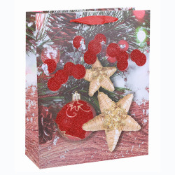 Photo Print Happy Holidays Paper Gift Bags Paper Shopping Bags Paper Carrier Bags With Glitter Assorted In Tongle Packing