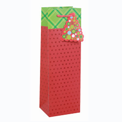 Eco-Friendly Nice Printing Decorative Gift Packing Paper Merry Christmas Wine Bottle Bag With 3tip-ons And glitter In Tongle Packing