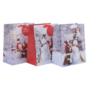 Santa Clause Paper Bags Christmas Paper Bags Be Jolly Paper Shopping Bags With Colorful Glitter And Hangtag In Tongle Packing