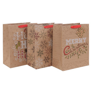 Your Green Choice Recycled Brown Kraft Paper Bags Brown Paper Bag Christmas Gift Bags With Glitter On Front Side In Tongle Packing