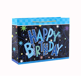 Custom Design Logo Fancy Style Birthday Paper Gift Bag with 4 Designs Assorted in Tongle Packing