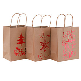 Brown Craft Merry Christmas Hot Foil Stamping Paper Bags