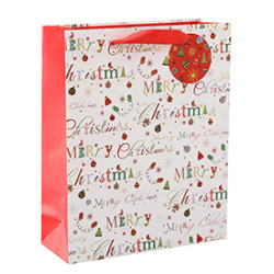 Factory Supply Customized Christmas Style Paper Bags with 4 Designs Assorted