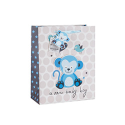 3D Animal Print Baby Custom Paper Gift Bags with 4 Designs Assorted