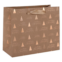 Horizental Recycled Brown Kraft Paper Bags Merry Christmas Craft Gift Bags 3 Designs Assorted