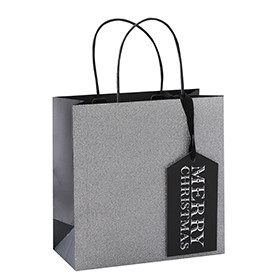 Luxurious Design Whole Surface Glitter Christmas Gift Paper Bag with 4 Designs Assorted