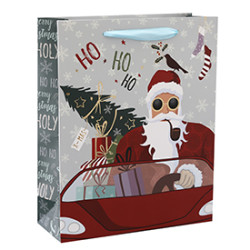 European Design Hot Foil Stamping Merry Christmas Paper Shopping Bag With 4 Designs Assorted