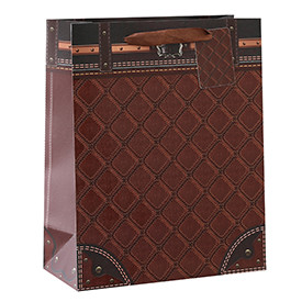 Beautiful Whole Surface UV On Front Leather Effect Tote Paper Gift Bag With 4 Designs Assorted