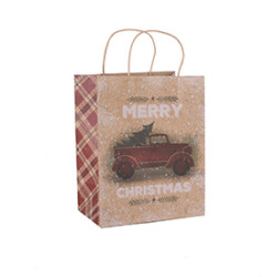 4 Color Print Brown Craft Christmas Design Paper Gift Bags
