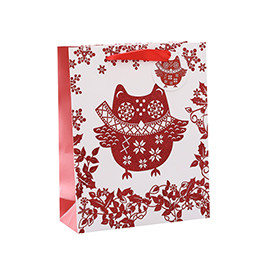 Luxury Customized Printed Red Christmas Gift Packing Paper Bags with 4 Designs Assorted