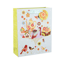 New Design Floral Spring Style Paper Gift Bags with 4 Designs Assorted