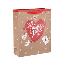 High Quality New Design Boutique Valentine's Day Paper Gift Bags with 4 Designs Assorted