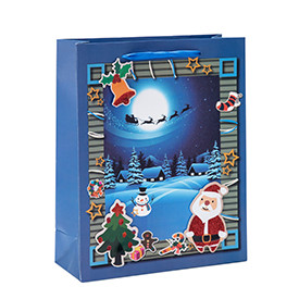 Merry Christmas Holiday Paper Gift Bags With 4 Designs Assorted