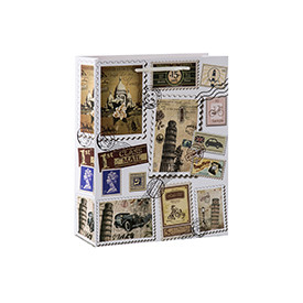 Postage stamp themed vintage paper gift bags with 4 designs assorted