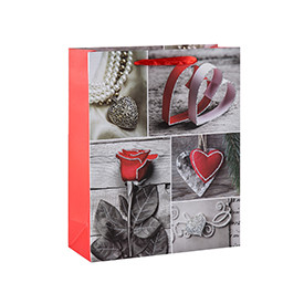 A hear felt Valentine's Day paper gift bags with 4 designs assorted