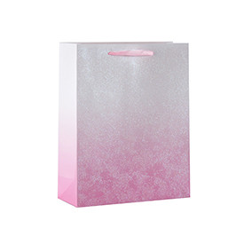 Color Gradient Glittering Cardboard Paper Gift Bags with 4 designs assorted