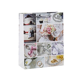 Photo prints glittering wedding welcome and favors gift bags with 4 designs assorted