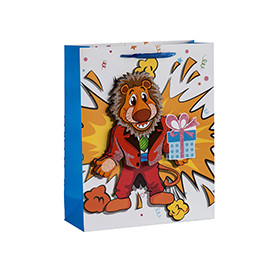 Kids favorite 3D animals paper gift bags with glittering and 4 designs assorted