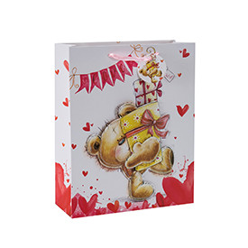 Freehand sketching lively little bears 3D and glittering paper gift bags with 4 designs assorted