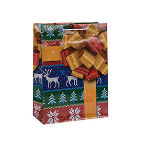 Factory Sale Attractive Style Handmade Christmas Paper Gift Bags with 4 Designs Assorted