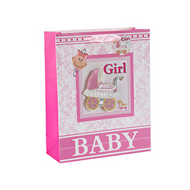Baby shower 3D and glitter paper gift bags with 4 designs assorted