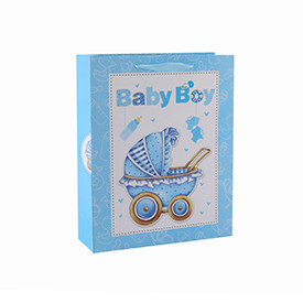 Custom Paper Gift Bags Cardboard Bags Fancy Designs Wholesale Bag for Baby with 4 Designs Assorted