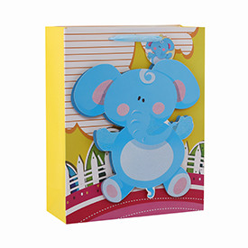 Cute animals 3D and glitter baby gift paper bags with 4 designs assorted
