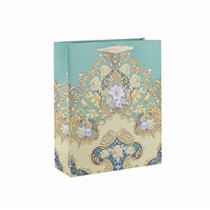 Wholesale Flower Printed Recycle Square Bottom Paper Gift Bag with 4 Designs Assorted