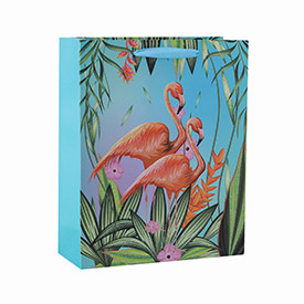Custom printed flowery flamingo pattern paper bags with 4 designs assorted