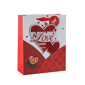 Heart touching happy Valentine's Day 3D and glitter gift bags with 4 designs assorted