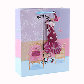 Luxury Decorative Custom 3D and Glitter Gift Paper Bag with 4 Designs Assorted