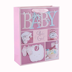 Custom Pink and Blue Luxury Glitter Baby Paper Gift Bags with 4 Designs Assorted
