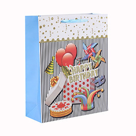 Custom Various Sizes 4C Printing Birthday Gift Paper Bag with 4 Designs Assorted
