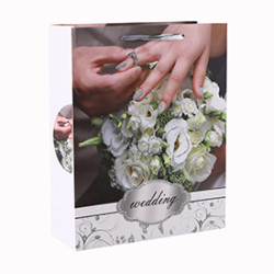 White Cardboard Flower Romantic Style Glitter Gift Paper Bag with 4 Designs Assorted